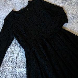 🆕Lace Black H&M Long Sleeve Skater Dress Size 14